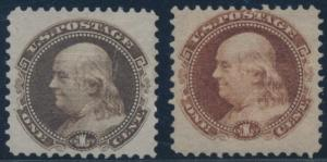 #112-E4d (2) DIFF. COLORS PLATE ESSAYS ON STAMP PAPER -- GRILL -- CV $195 BT3689