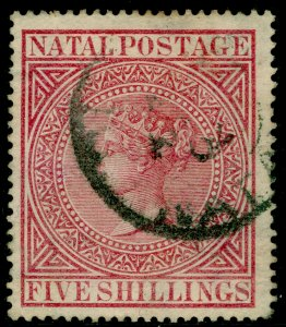 SOUTH AFRICA - Natal SG72, 5s rose, USED. Cat £45.