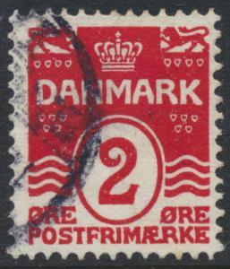 Denmark Scott 58 (AFA 43), 2ø red Wavy Lines, F-VF Used
