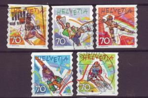 J6770 JLs stamps 1998 swiss used set/5 #1030-4 $2.50v sports