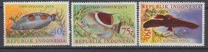 J29348, 1975 indonesia set mnh #959-61 fish