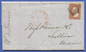 US 1851 3c Sc 10A  on cover, Top margin copy and margins on other sides