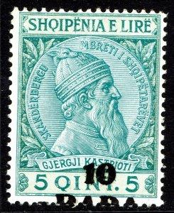 Albania #48  MOG - Skanderbeg surcharged 10p on 5q (1914)