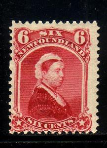 Newfoundland Sc 36 1894 6 c carmine lake Victoria stamp mint