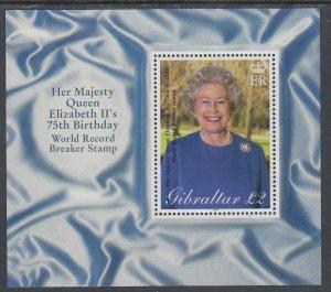 Gibraltar 880 Queen Elizabeth II Souvenir Sheet MNH VF