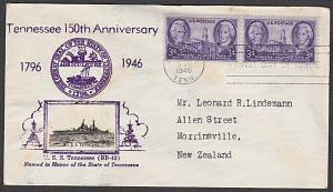 USA 1946 CROSBY photo FDC to New Zealand - Tennessee.......................55343