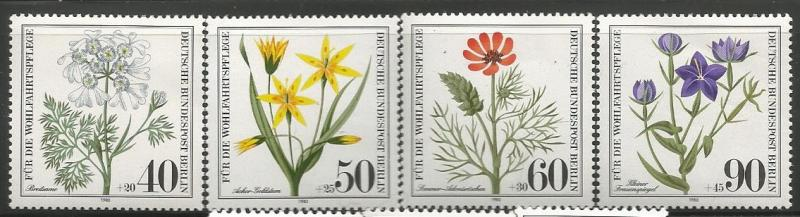 GERMANY, BERLIN 9NB171-9NB174, MNH, C/SET OF 4 STAMPS, WILDFLOWER 1980