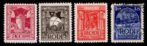 1929 ITALY - RHODES #15-17 & 21 - MOST OGLH - VF - CV$33.75 (ESP#1541)
