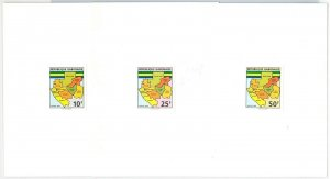 49870 - GABON - POSTAL HISTORY: IMPERF Stamp proofs on board  1993 MAPS