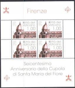 2018 Vatican, Sheetlet 600° Anniversary Dome Di Santa Maria Del Fiore