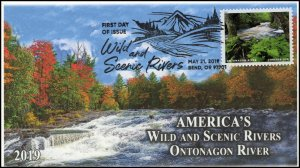 19-110, 2019, Wild and Scenic Rivers, Pictorial Postmark, FDC, Ontonagon River
