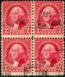 #707 – 1932 Washington Bicentennial: 2c Washington.  Used Block of 4.