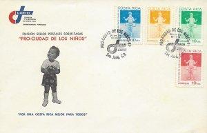 COSTA RICA BOY on SWING, PRO-CIUDAD de los NIÑOS,Sc RA85-RA88 FDC 1980