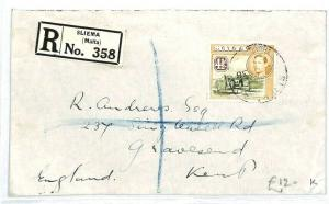 MALTA Sliema REGISTERED Cover GB Kent Gravesend 1938 {samwells-covers} CW231