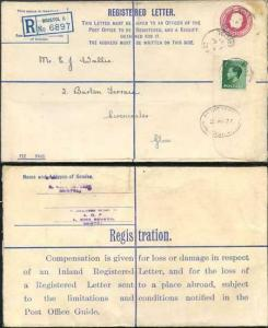 RP45 KGV 4 1/2d Puce Registered Envelope Size H Place Abroad on Back Uprated