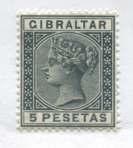 Gibraltar QV 1889 5 pesetas steel blue unused no gum