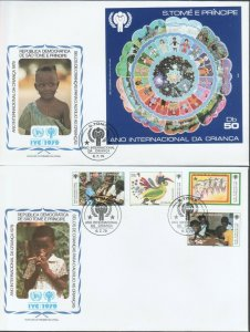 SAO TOME AND PRINCIPE  IYC INTERNATIONAL YEAR OF CHILD 2 FDCs 1979 R2021491