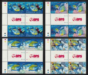 Barbados WWF Queen Triggerfish Diving 4 Gutter blocks SG#1290-1293 MI#1119-1122