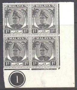Malaya Selangor Scott 80 - SG90, 1949 Sultan 1c Block of 4 MNH**