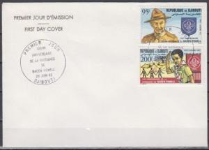 Djibouti, Scott cat. C163-C164. Scout Baden Powell issue. Plain First day cover.