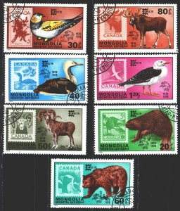 Mongolia. 1978. 1157-63. Fauna of Canada, stamps on stamps. USED.