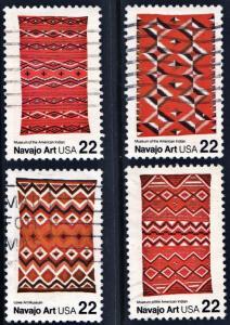 SC#2235-38 22¢ Navajo Blankets Singles (1986) Used
