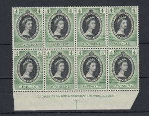 St Vincent QEII 1953 4d Coronation Block of 8 De La Rue Inscription MNH J5306