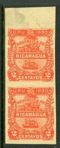 Nicaragua 1890 Seebeck Locomotive 2¢ Vermillion Imperf Sc #21a Mint L890 ⭐⭐⭐⭐⭐