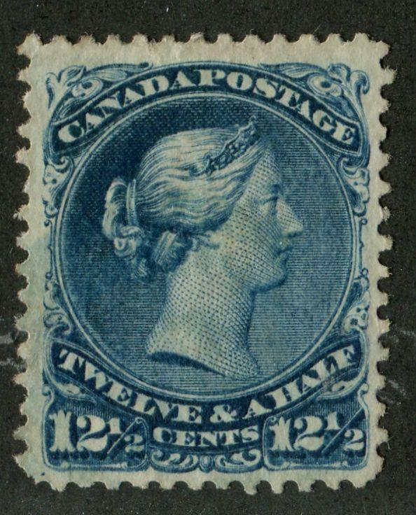 Canada #28a 12.5c Deep Bright Blue Large Queen - Paper 6 Watermarked VF-78 Used