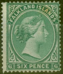 Falkland Is 1878 6d Blue Green SG3 Fine Unused