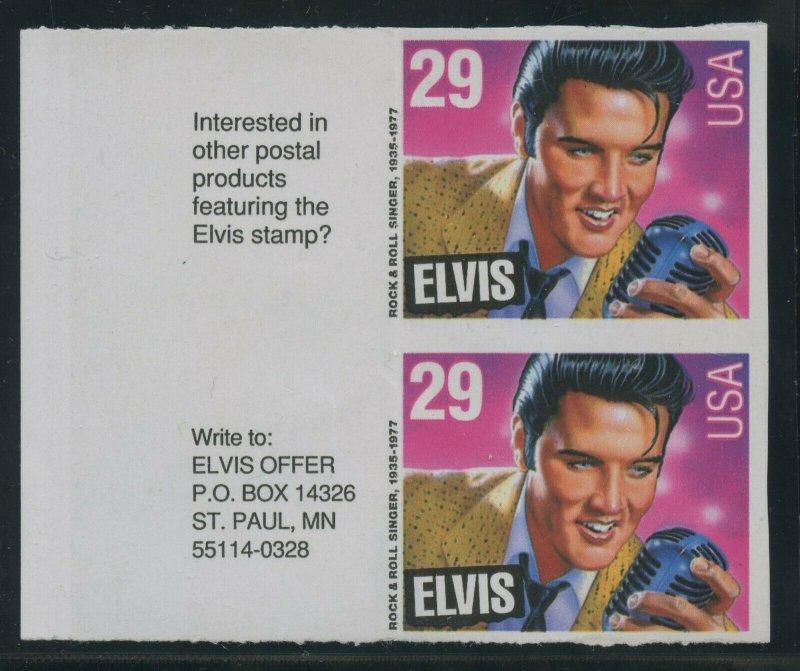 #2721a 29c ELVIS PRESLEY 1993 LEFT MGN PAIR IMPERF MAJOR ERROR 2 KNOWN WLM8664