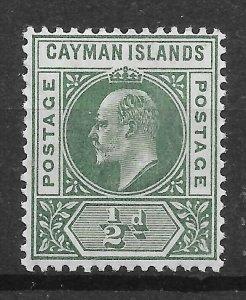 CAYMAN ISLANDS SG8 1905 ½d GREEN MTD MINT