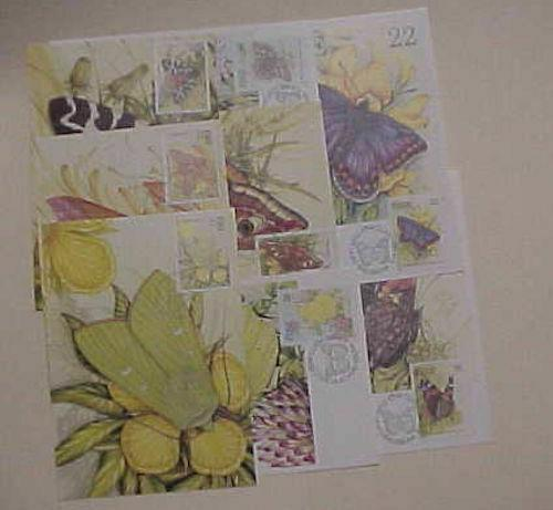 IRELAND  8 DIFF. MAXICARDS BUTTERFLY 1985,1994 UNADDRESSED