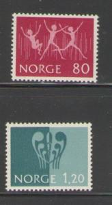 Norway Sc 592-3 1972 Youth Exhibition stamps mint NH