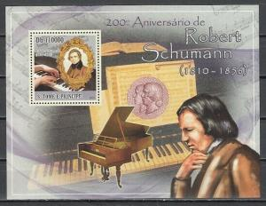 St. Thomas, 2010 issue. Composer Robert Schumann s/sheet.