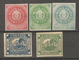 COLLECTION LOT # 4290 ARGENTINA 5 REPRINT STAMPS 1862+