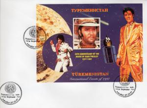 Turkmenistan 1997 Elvis Presley/Halley's Comet S/S IMPERFORATED FDC