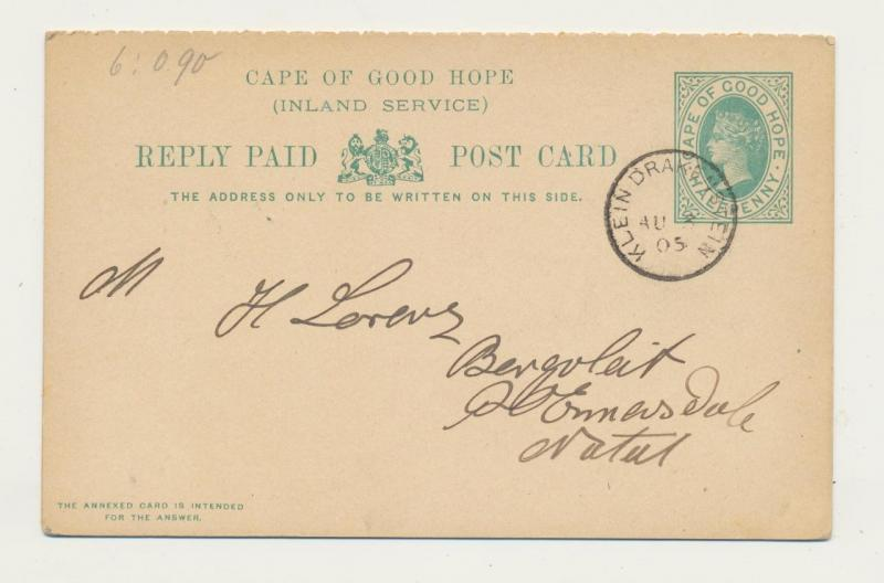 CAPE OF GOOD HOPE 1905, KLEIN DRAKENSTEIN TO NATAL, ½d REPLY PAID CARD