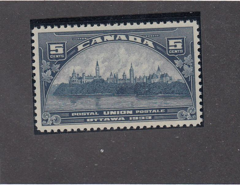 CANADA # 202  VF-MNH  5cts PARLIAMENT BUILDINGS UPU MEETING 1933  CAT VALUE $32
