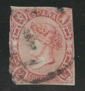 SPAIN Scott 67 Used 1865 Faulty Filler