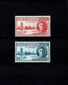 DOMINICA - 1946 - KG VI - PEACE ISSUE - WW II - MINT - MNH SET OF 2!