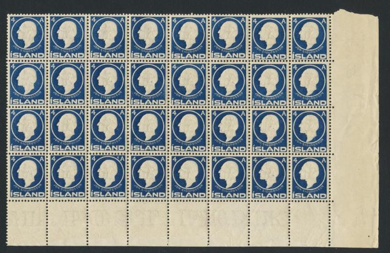 ICELAND 1911, 4a CORNER MARGIN BLOCK OF 32, NH Sc#88 CAT$190 (SEE BELOW)