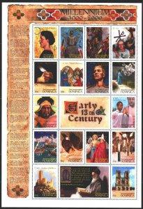 Dominica. 1999. Small sheet 2762-78. Millennium, 13th century, Genghis Khan, ...
