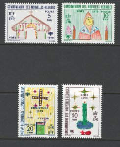 French New Hebrides 1979 Christmas Scott # 292 - 295 MH