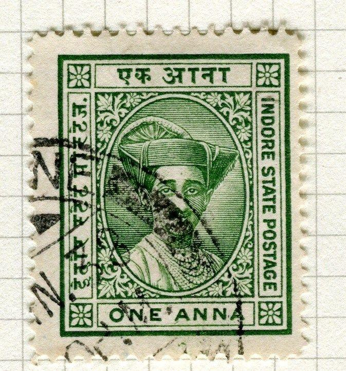 INDIA;   INDORE 1927 early Holkar II issue fine used 1a. value