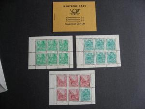 GERMANY DDR panes MNH 330c, 333a, 477b +full bklt with same PLZ read description