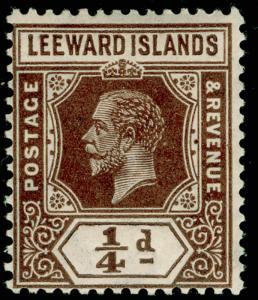 LEEWARD ISLANDS SG81, 1/4d brown, LH MINT. Cat £17. WMK SCRIPT. DIE I.