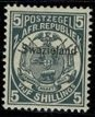 SWAZILAND QV 1889-90 5/- SLATE-BLUE UNUSED (MH) SG8 Wmk.none P.12.5 VGC CERT.