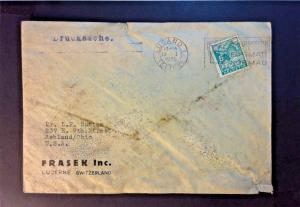 Switzerland 1935 Lugano Cover to USA (Stained) - Z774