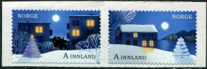 HERRICKSTAMP NEW ISSUES NORWAY Sc.# 1839a Christmas 2017 Self-Adh. Pair